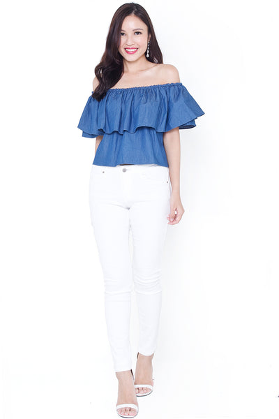 Cassrine Denim Off-Shoulder Top (Dark)