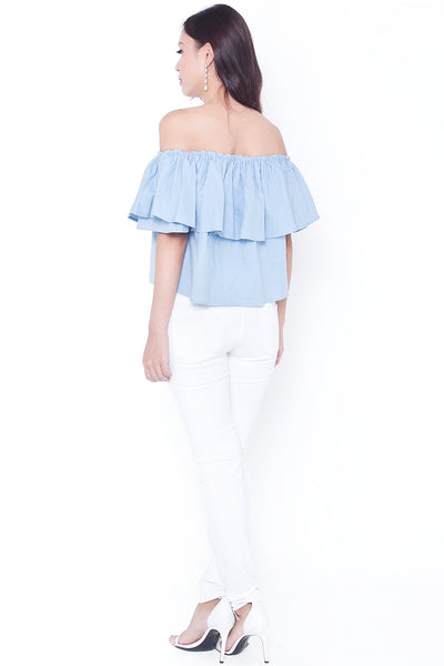 Cassrine Denim Off-Shoulder Top (Light)