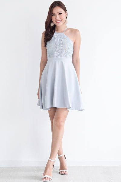 Kasse Halter Lace Dress (Blue)