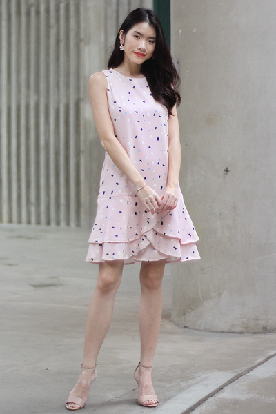 Evelie Confetti Ruffle Dress (Blush)