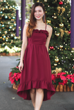 Prixie Frill Dress (Wine)