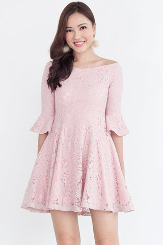 Adalia Lace Bell-Sleeves Dress (Pink)