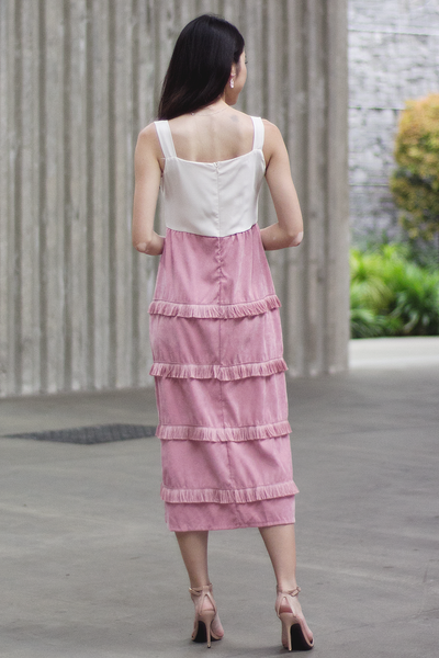 Mckalle Fringe Dress (Blush)