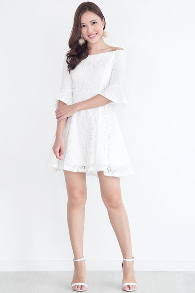Adalia Lace Bell-Sleeves Dress (White)