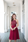 Farlin Crochet Midi Dress (Wine)