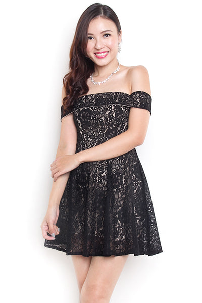 Tamara Off-Shoulder Lace Dress (Black)