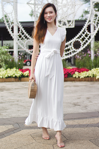 Alexia Frill Maxi Dress (White)