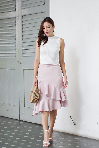 Carrine Plaid Ruffle Skirt (Pink)