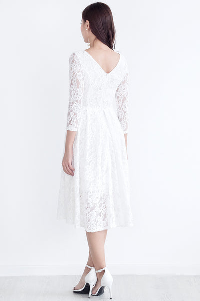 Seia Lace Midi Dress (White)