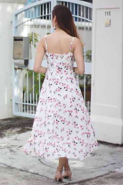 Seralyne Floral Dress (White)