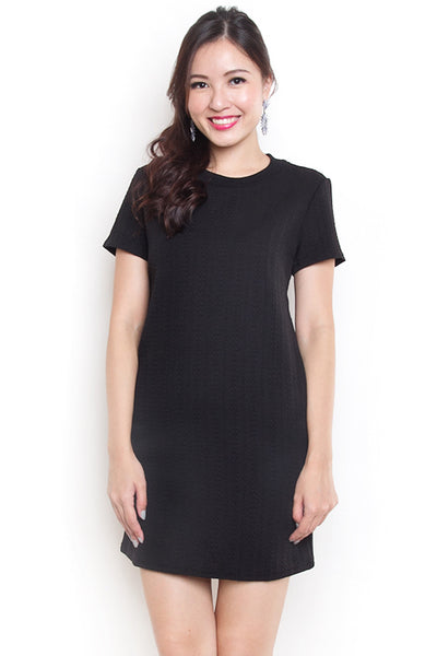 Kareen Emboss Shift Dress (Black)