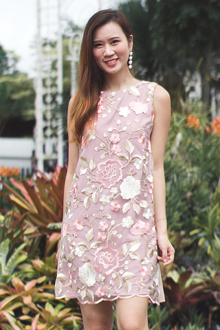 Reriel Embroidery Shift Dress (Blush)