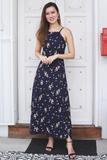 Jerie Floral Maxi Dress (Navy)