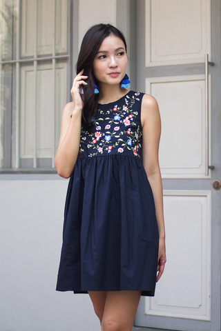 Hallsie Babydoll Dress (Midnight Blue)