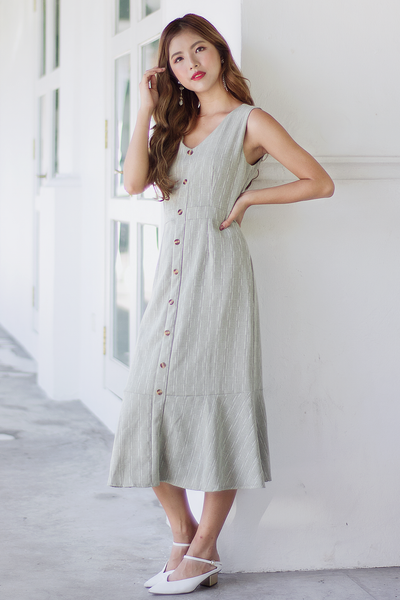 Wanda Fishtail Dress (Sage Green)