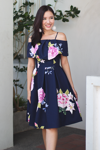 Ridley Floral Dress (Navy) (Preorder)