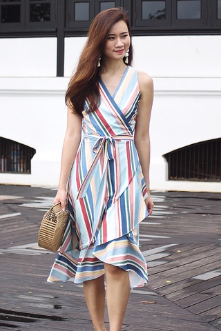 Farla Wrap Dress (Rainbow)