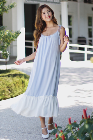 Calissa Colourblock Tassel Dress (Sky)