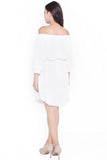 Faustina Pleated Off-Shoulder Dress (White)
