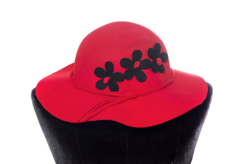 Floral Contrast Hat (Red)