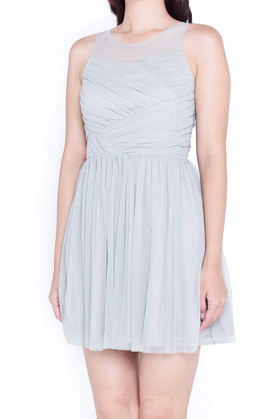 Karlie Tulle Sweetheart Dress (Dove Grey)