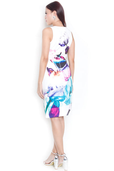 Hiley Floral Fitted Dress (White)