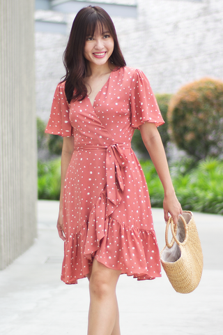 Divinity Wrap Dress (Salmon)