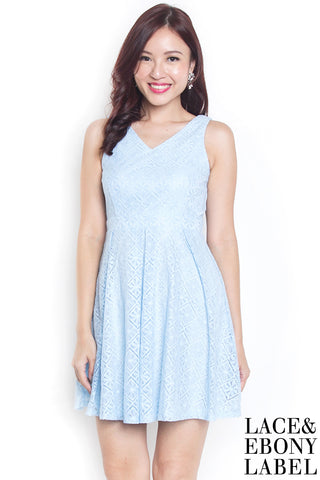 Chrslyn Lace Pleat Dress (Powder Blue)