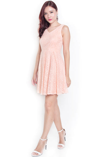 Chrslyn Lace Pleat Dress (Peach)