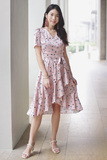 Arya Floral Wrap Dress (Blush)