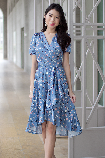 Arya Floral Wrap Dress (Azure Blue)