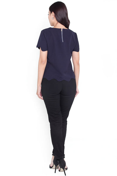 Renae Scallop Top (Navy)