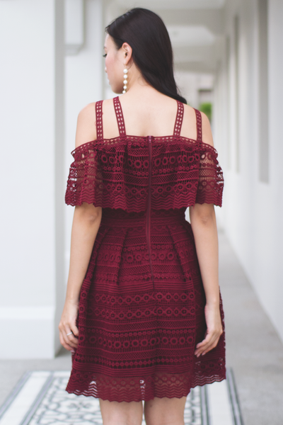 Natalia Crochet Dress (Wine)