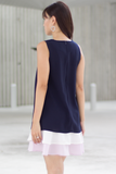 Fayen Colourblock Tier Dress (Navy Lilac)