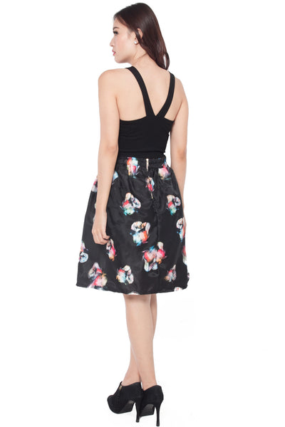 Patrice Floral 3D Overlay Skirt (Red)