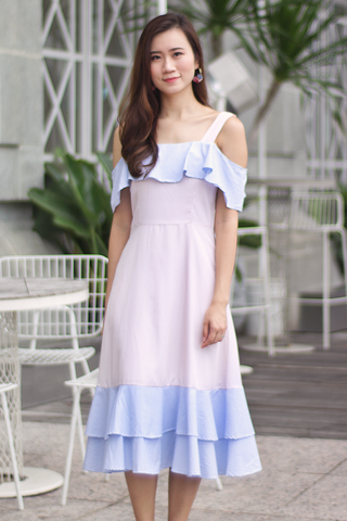 Halyen Flutter Midi Dress (Pastel Pinstripes)