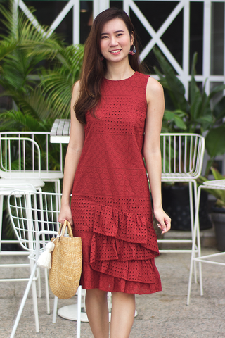 Jasien Eyelet Midi Dress (Rust)
