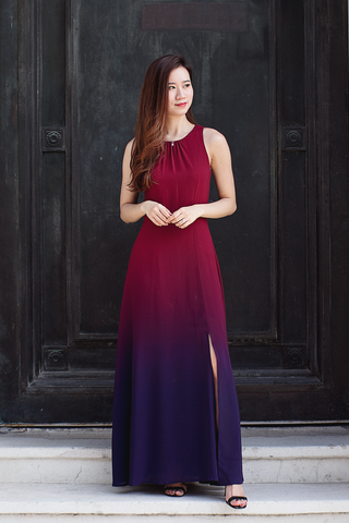 Ariselle Ombre Maxi Dress (Wine Plum)