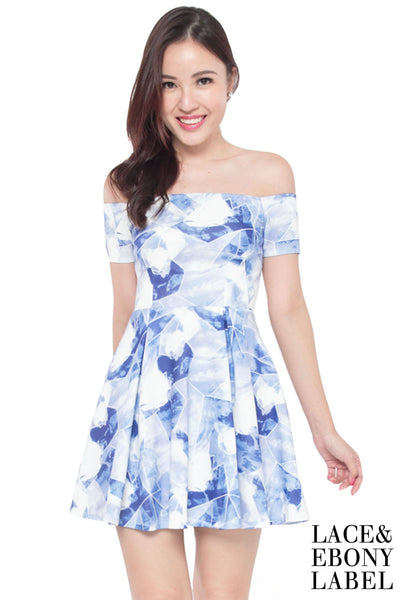 Thea Abstract Off-Shoulder Dress