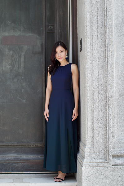 Ariselle Ombre Maxi Dress (Navy Forest)