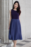Fayenne Pleat Dress (Navy)
