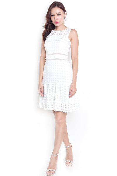 Stelie Organza Pleated Dress (White)