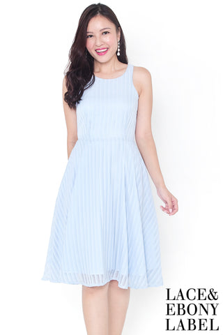 Wylenne Ombre Stripe Midi Dress (Sky)