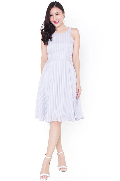 Wylenne Ombre Stripe Midi Dress (Lavender Grey)