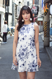 Elora Floral Dress (Navy)