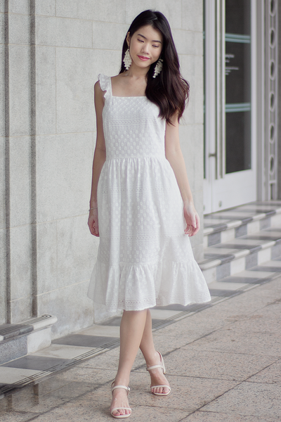 Kieria Crochet Dress (White)