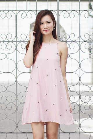 Reila Halter Dress (Pink Floral)