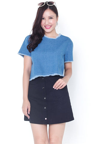 Breinne Denim Asymmetrical Top (Light)