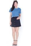 Treza Denim Button Skirt (Navy)