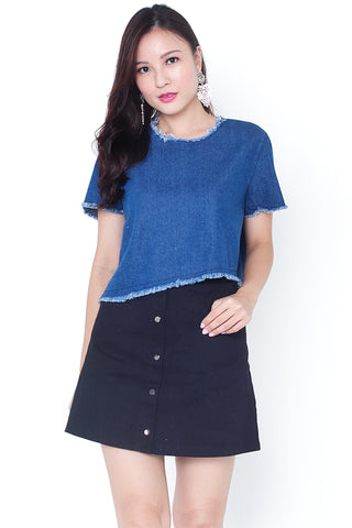 Breinne Denim Asymmetrical Top (Dark)